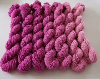 Gradient Mini Skeins Yarn Set Pink-Orchid-USA Merino Sock Yarn-3.5 oz. 367  yards