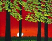 Border Collie Dog Outsider LARGE Folk Art Print Todd Young SPRING SUNSET