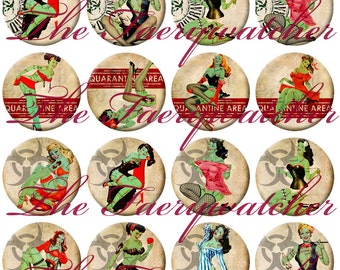 One Inch Vintage Zombie Pinup Magnets, Pins or Flatbacks 12ct. Set A