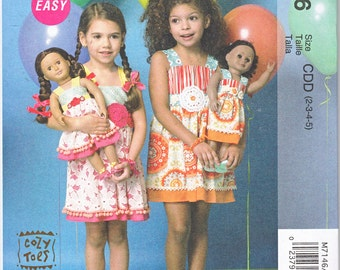"McCalls 7146 Toddler Girls AND Matching 18"" American Girl Doll Summer Sun Dresses Easy Sewing Pattern Girls Sizes 2-5 New UNCUT"