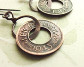 Coin earrings, Vintage Indian coins, money, handmade copper hoops, rustic jewelry, boho style ethnic earrings india