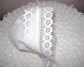 Magic Hanky Handkerchief Baby Bonnet Bridal Hankie Swiss Lace Turns into Brides Hankie