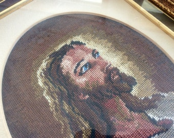 "Needlepoint Jesus Portrait, Vintage Embroidery.  Framed Wall Art, Kitschy Religious Art, Blue Eyed Jesus Art. 1960s Kitsch ""The Christus"""