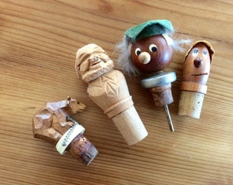 Vintage Wood Cork Stoppers, Wine Bottle Stoppers, Kitschy Danish Modern Mid Century Carved Wood Mans Head, Circus Bear, Black Forest Barware