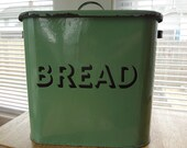 England, c. 1940 - Green Enamel Bread Bin - Ready to Ship - Vintage Kitchen - Farmhouse Style Kitchen Storage - Rustic Modern