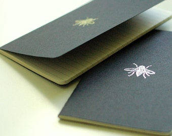 METALLIC BEE JOURNAL set - two lined black Moleskine mini journals featuring silver and gold metallic bumble bees - hand embossed