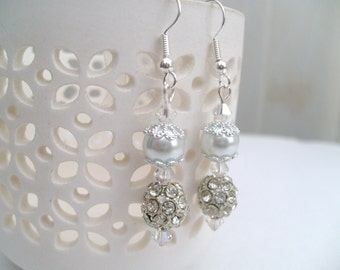 White Pearl and Rhinestone Earrings, Bridal Pearl Earrings, Bridesmaid Earrings, Custom Colours, Wedding Jewelry, Dangle Earrings, Crystals