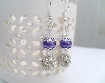 Purple Pearl Earrings with Rhinestones, Wedding Earrings, Bridesmaid Earrings, Bridesmaid Gift, Custom Colours, Jewelry Dangle Earrings,
