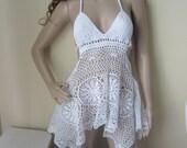 WHITE CROCHET DRESS, Crochet dress, beach cover, festival clothing, summer dress, cotton dress