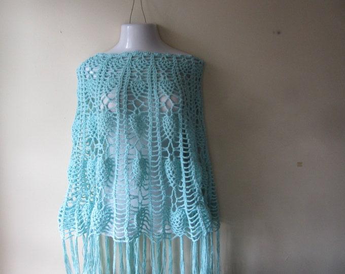 Poncho, crochet poncho, crochet skirt, Pastel blue poncho, Womens poncho, beachcover,  Boho, festival clothing, gypsy, hippie