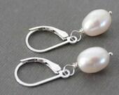 White Pearl Sterling Silver Earrings, Pearl Drop Earrings, Classic Jewelry - SIMPLICITY