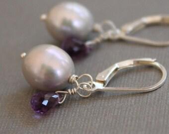 Gray Pearl & Amethyst Drop Earrings, Sterling Silver Pearl Earrings, Gemstone Drop Earrings
