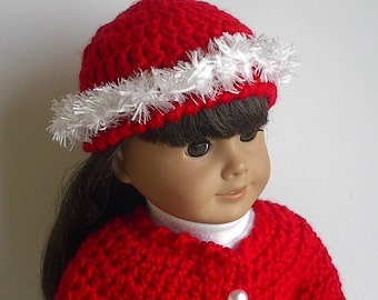 18 Inch Doll Clothes - Crocheted Jacket and Hat in Holiday Red with White Eyelash Trim - Made to Fit the American Girl Doll