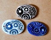 3 Handmade Ceramic Beads - Large Steampunk Gear Abstract Cuff Beads