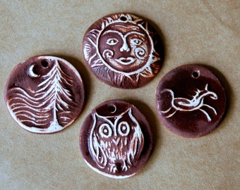4 Handmade Ceramic Beads - Chocolate Brown beads - Owl, Sun, Horse and Forest beads made of Clay
