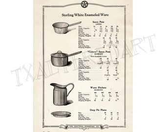 Kitchenware Vintage Art Deco 1920s Central Stamping Co catalogue print cookware Pots and Pans paper ephemera kitchen wall decor no. 5