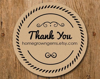 Customized Stickers - Thank You Stickers Ornate Outline Circle - Labels - Wedding - Birthday Party - Thank You Stickers