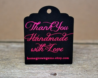 Metallic Gold Silver Copper Magenta Thank You For Buying Handmade Tags - Customized - Gift Tags - Thank you Tags - Shinny Metallic