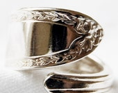Silver Spoon Ring, Dainty Border, name your size