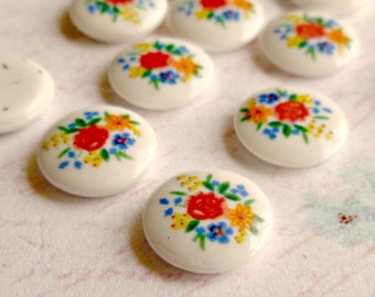 12 Vintage 10mm Glass Cabochons with Sweet Flowers (30-4B-12)