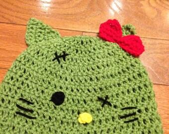 Zombie Hello Kitty Beanie Skullcap Hat - all sizes newborn through adult