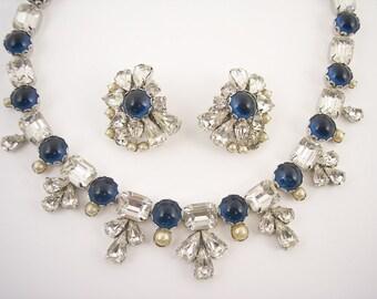 Vintage Blue Cabochon Rhinestone Necklace Set