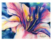 """Flower Painting, Floral Abstract Watercolor. Art, """"Big Flower Archival Giclée print from original oil painting by Kathy Morton Stanion EBSQ"""