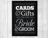 Cards & Gifts for Bride and Groom 5x7 Vertical Black and White and Silver Card Box Wedding Sign - Instant DIY Digital Download