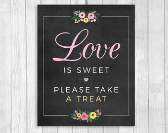 Love is Sweet Please Take a Treat 8x10 Printable Bridal Shower Candy Buffet Sign - Black and White, Gold and Pink Floral - Instant Download
