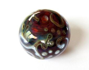 Handmade Hollow Lampwork Glass Focal transparent burgundy scrolls lines dots silver ooak