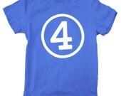 Kids CIRCLE Fourth Birthday T-shirt - Royal Blue