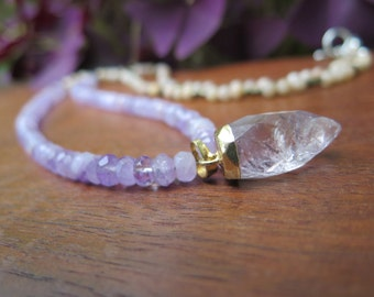 Luxury Faceted Lavender Amethyst Stone Necklace - Sterling Silver Brass - Mixed Metals - Raw Pendant  - Good Vibes Rich Boho Luxe Jewelry