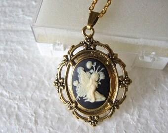 Fairy   Pendant Antique mystical pendant on brass chain, cabochon pendant,  bohemian, gypsy