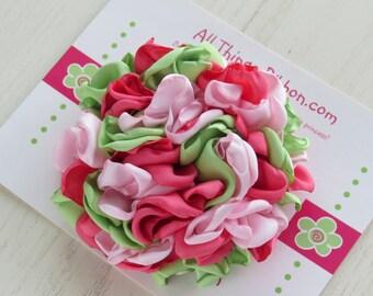 Coral Pink and Kiwi Vintage Mum clip All Things Ribbon Hair Bows for Girls