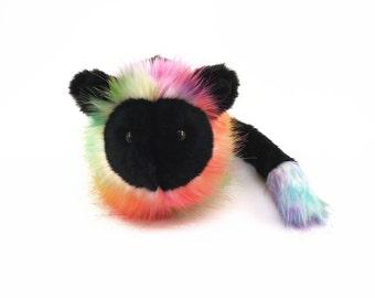 Stuffed Animal Cute Plush Toy Lion Kawaii Plushie Rainbow Prism Noir Snuggly Cuddly Faux Fur Lion Medium 5x8 Inches