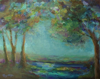 Original Impressionist Landscape Painting- 12x16 Acrylic on Canvas Wall Art- Trees and Water- Stillness