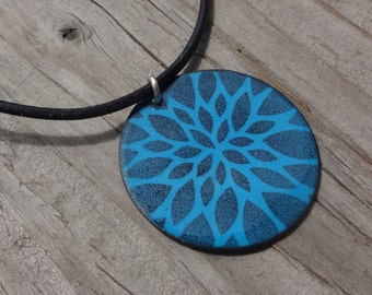 Sale Handmade Large Copper Enamel Flower Petal Disc Necklace, Large Copper Enamel Circle Flower Star Necklace, Soft Black on Medium Blue