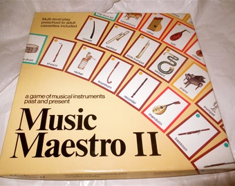 Music Maestro II Board Game - Game of Musical Instruments past and Present - Vintage 1987 - Ages 4 and up - 5 Games in One -