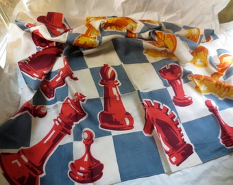 Chessmen Silk Scarf by Kimball - Vintage 50s Huge Game Piece Design - Famed Accessories Designer Mid Century Full Large Silk Scarves