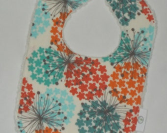 Flower Fabric and Chenille Boutique Bib