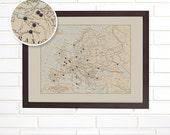 Vintage Europe Map Wall Art, Custom Pushpin Travel Map