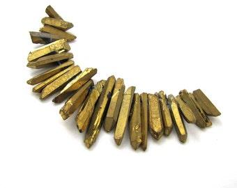 Golden Metallic Coated Quartz Crystal Point Beads Spiky Shards 4 inch Strand