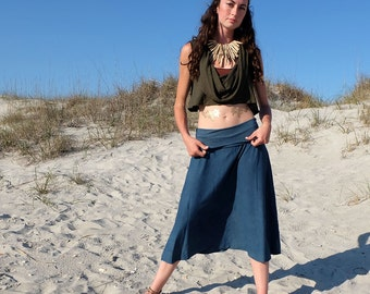 Hemp Stretchy Wanderer Below Knee Skirt - ( light hemp and organic cotton Lycra ) - organic skirt :