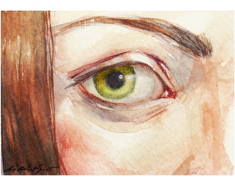 "ACEO Original Watercolor Painting Portrait ""Dreaming with Her Eyes Open"" by Amy Abshier-Reyes"