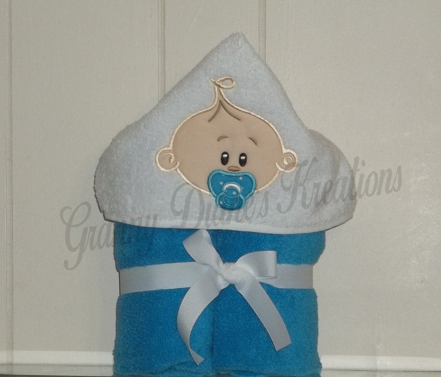 Towel Hoodie Personalized Appliqued Baby Hooded By Grannydiane