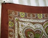 brown ivory and green scarf  27 inches square indian design paisley