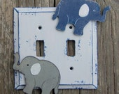 ELEPHANT Kids Switch Plate Cover - Hand Painted Wood