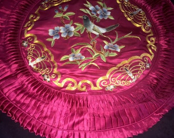 Chinese Silk Round Pillow Cover