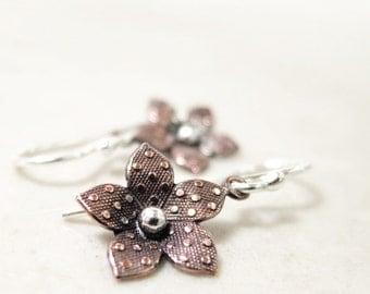 Copper flower earrings, Sterling Silver, Nature jewelry