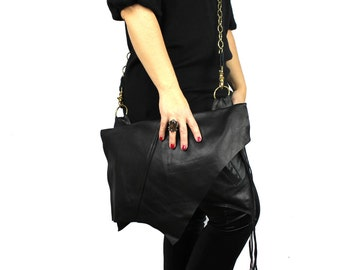 Large Black Leather Jett Handbag with Gold Crossbody Chain Strap - sustainable: made from re-purposed leather